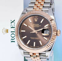 Rolex NEW Datejust 41 Chocolate Dial 18k Rose Gold Steel Watch Box/Papers 126331