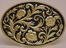 BELT BUCKLES metal USA accessories black gold floral WESTERN OVAL buckle NWOT!