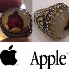 Silver Yemeni agate Men Ring, Photo Natural for Apple logo, Rare