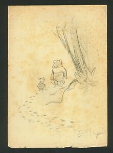 E H SHEPARD - drawing on original paper of 30's