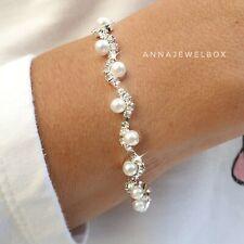 Silver Diamante Crystal Pearl Tennis Bracelet Cubic Zirconia Bangle Bridal Gift