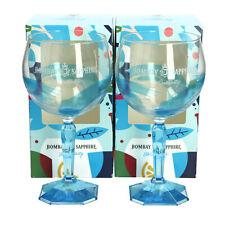 More details for 2 x bombay sapphire balloon glasses. boxed. bar gin glass. light blue swirl