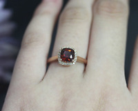 1.6ct Cushion Cut Red Garnet Engagement Ring 14k Yellow Gold Finish Halo Design