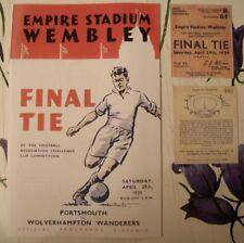 1939 FA Cup final programme,Ticket & free teamsheet Portsmouth v Wolverhampton W