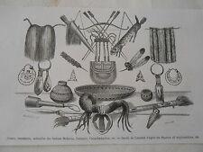 Amérique du Nord Armes ornemant ustensiles des indiens Mohaves Gravure 1876