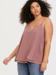 NWT TORRID Double Layer Georgette Swing Cami Top Walnut Brown Size 5 Retail $39.