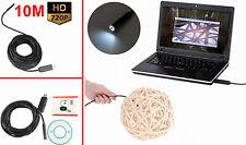 Endoscopio USB cavo 10 Metri.Camera LED 10m ispezione tubi,flessibile IP67 sonda