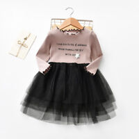 Infant Baby Kids Girl Letter Tutu Tulle Princess Dress Cute Party Clothes Outfit