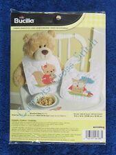 Stamped Cross Stitch Woodland Baby Bib Kit Set of 2 Bibs Squirrel & Owl