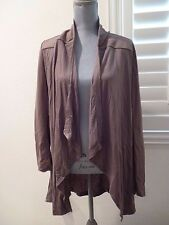 KIMBERLY OVITZ drape front jacket Long Sleeve Cardigan Sweater toupe ash S-NWT