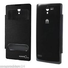 Custodia Nera S-View a Portafoglio per Huawei Ascend G700 - Slim FLIP Cover