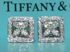 TIFFANY & CO. VICTORIA PLATINUM MARQUISE SQUARE OUTLINE DIAMOND EARRINGS PT950
