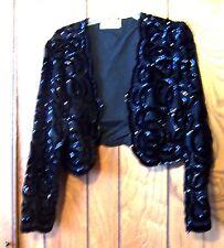 Sz M/L ~ Laurence Kazar Black Velvet Sequin Cropped Bolero Shrug Evening Jacket