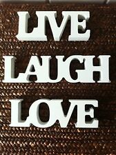 LIVE LAUGH LOVE WHITE WOODEN FREE STANDING WORD LETTERS WEDDING DECORATION GIFT