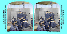 USS Monitor Ironclad Sailors Civil War SV Stereoview Stereocard 3D 01062