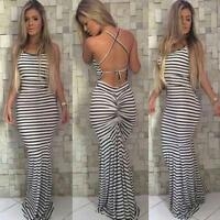 """Sexy Women""""s Striped Dress Evening Party Cocktail Club Sleeveless Dresses Club"""