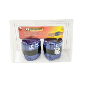 MFP deluxe Ankle Weights pair 2lbs total Blue adjustable 1lb ea  soft one size