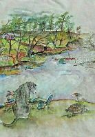 Debbi Chan Watercolor on Silk With Embroidered Home with Dublin   unframed