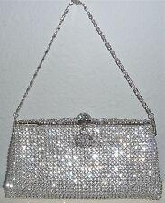 Crystal Beaded Evening Clutch Handbag Purse - Silver - New!
