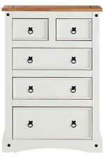 Collection Puerto Rico 5 Drawer Tall Chest - White & Pine