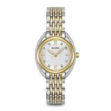 New Bulova 98R229 Two Tone Stainless Steel 24 Diamond Dial & Bezel Ladies Watch