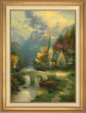 """T.Kinkade new """"Mountain Chapel"""" with 24"""" X 30"""" Gold frame"""