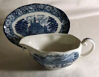 Staffordshire Liberty Blue Gravy Boat With Tray