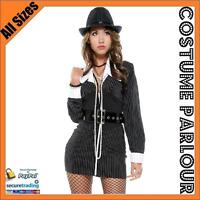 Womens Black Mobster Gangster 1920s 1930s Ladies Fancy Dress Costume Size 8 - 10