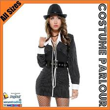Womens Black Mobster Gangster 1920s 1930s Ladies Fancy Dress Costume Size 8 - 10