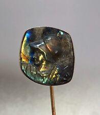 Victorian Labradorite Cameo Stick Pin - 14k