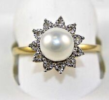 Fresh Water Pearl & Diamond Halo Solitaire Ring 14k Yellow Gold .06Ct 8mm