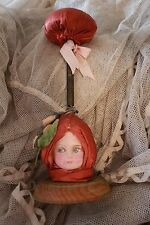 Antique Doll Head Hat Stand Pink Silk Roses Paper Mache Doll