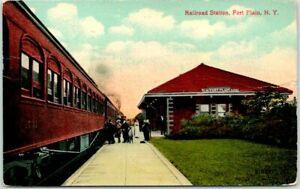 "1914 FORT PLAIN New York Postcard ""Railroad Station"" Train Depot Trackside Scene"