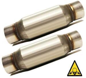 """Pair of 3"""" straight Universal Glass Pack Resonator Muffler Stainless Steel"""