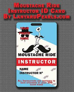 Moustache Ride Instructor Novelty Cosplay ID Mustache Ride