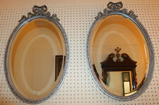 Gorgeous Pair Silvery Gray French Oval Beveled Glass Bow Tie Mirrors