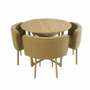 Elegant Round Dining Table & 4 Chairs Space Saver Home Cafe Table Chairs Set