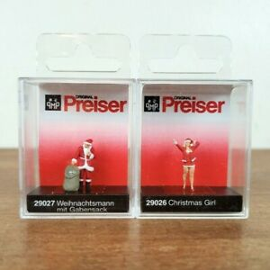 Preiser HO Scale 29027 29026 Santa Claus with Gifts and Santa's Helper Christmas
