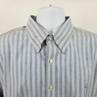 Brooks Brothers 1818 Slim Fit Non Iron Blue Striped Oxford L/S Button Shirt XL