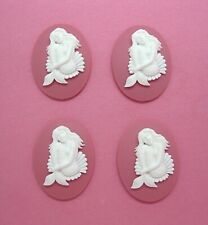 4 unset White Sultry Mermaid Sitting in Shell on Pink 40mm x 30mm craft Cameos