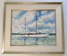 Signed Nautical Sailboat Oil Painting Prinyers Cove Prince Edward Island Canada