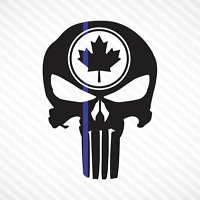 Punisher Skull Maple Leaf Thin Blue Line Vinyl Decal Sticker Canadian Police