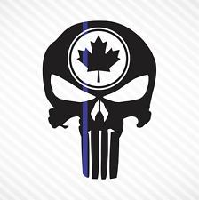 Punisher Skull Maple Leaf Thin Blue Line Vinyl Decal Sticker Canadian Police