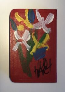 Original Pro Hart Painting on New Testament | Multicoloured Flowers on Red Cover