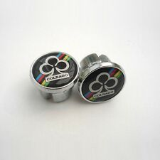 Vintage Colnago World Champion on Black, Chrome Racing Bar Plugs, Caps, Repro