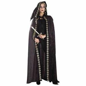 Long Black Crushed Velvet Hooded Cape Printed Trim, Medieval Renaissance Cloak