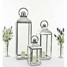 XXL 79cm Giant Stainless Steel Silver Glass Lantern Candle Holder Wedding Decor