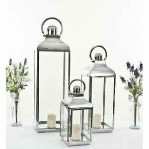 XXL 79cm Giant Stainless Steel Silver Glass Lantern Candle Holder Wedding Decor