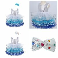 Child Girls Princess Tutu Dress Mesh Ruffled Perforamance Dress Party Costumes