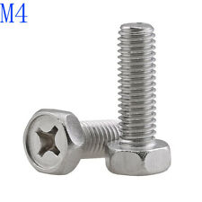M4 - 0.7 4mm 304 Stainless Steel - Phillips Drive Hex Head Bolts Cap Screws new